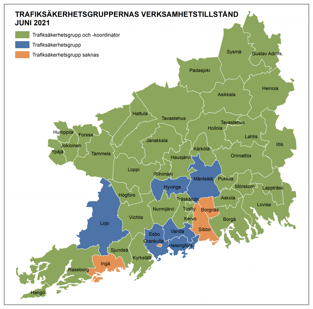 Trafiksäkerhetsgruppernas verksamhetstillstånd 2021, karta.