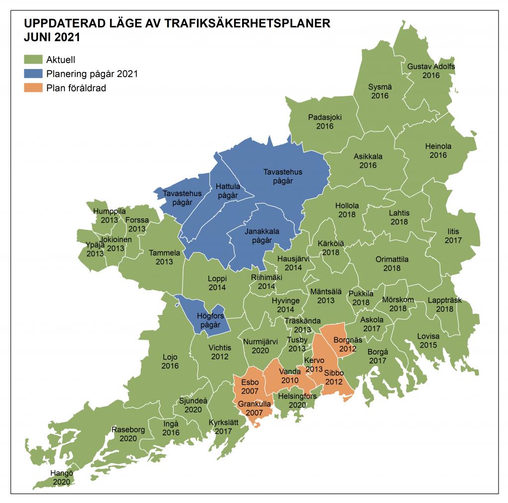 Uppdaterad läge av trafiksäkerhetsplaner juni 2021, karta.